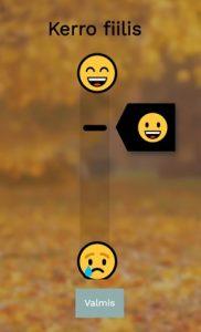 Fiilisjana pystysuorassa, ylhäällä hymyilevä emoji ja alhaalla surullinen emoji.